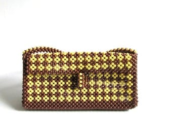 1960s beaded purse . brown & yellow beaded purse . shoulder strap purse . small vintage purse