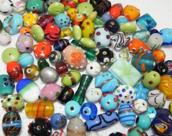 one Pound awesome LAMPWORK BEADS/ Indian Beads  handmade mix  Assorted.extra large.