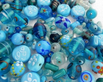 1 Pound vintage style supper delux handmade blue colour combination LAMPWORK glass beads mix ONE POUND.