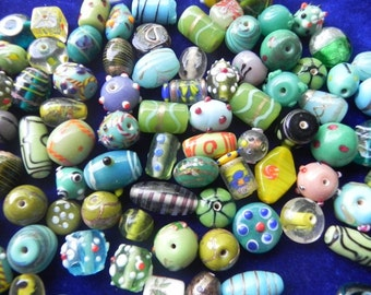 1 Pound vintage style supper delux handmade green mix colour combination LAMPWORK glass beads mix ONE POUND.