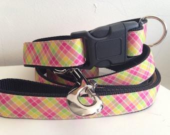 Pink, Yellow, Green Lemonade Plaid One inch Leash and Collar Set