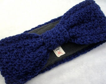 Crocheted Earwarmer with Fleece Lining Navy Blue Hollywood Starlet Turban Style Head Wrap Headband  - READY to SHIP