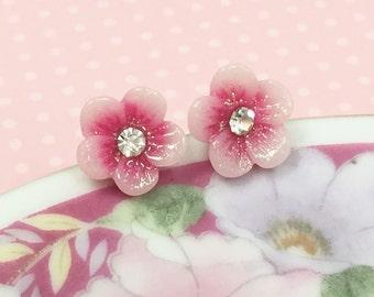 Pink Flower Earrings, Pink Daisy Studs, Rhinestone Flower Earring, Hypoallergenic Studs, Pink Glitter Stud, Rhinestone Daisy (LB3)