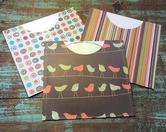 CD Paper Sleeves Set • Birds Dots Stripes • 3 Handmade Disk Covers • Envelopes • Gift Wrap • Pockets • Printed Paper • DVD