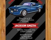 Teen Surprise Car Birthday Party Invite Blue Muscle Car Masculine Man Navy Grey Invitation 16th 60th Birthday 5x7 Digital JPG File(455)