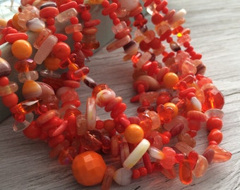Czech glass bead mix bright orange full 16 inch strand 50 beads plus (B14)