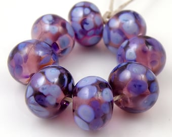 Passionate Purple - Handmade Lampwork Glass Round Beads 8mmx12mm - Lilac Purple - SRA (Set of 8 Beads)