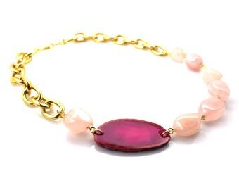 Rose Quartz Necklace, Rose Quartz Jewelry, Pink Statement Necklace, Pink Agate Necklace, Geode Slice Necklace, Agate Slice Necklace, Geodes