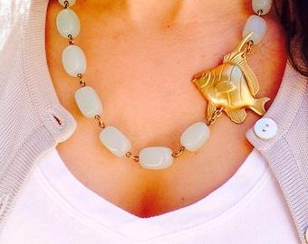SALE Fish Necklace, Aqua Statement Necklace, Seafoam Necklace, Fish Jewelry, Ocean Jewelry, Beach Jewelry, Coastal Jewelry, Beach Necklace