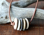 Beach stone necklace - natural leather cord  - Cairn necklace - Beach Pebble Necklace - Cairn Jewelry - Zen - boho chic