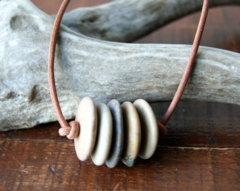 Stone Bar Necklace - Beach stone necklace with leather cord - FREE GIFT WRAP
