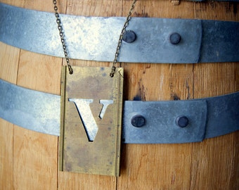 Letter V Necklace - Vintage Brass Stencil Letter Necklace - capital V - personalized jewelry - Rustic - Reclaimed - Other Letters Available