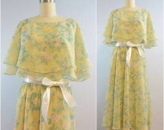 Pastel Yellow Floral Capelet Dress | Vintage 1980s Dress | Size Small Medium