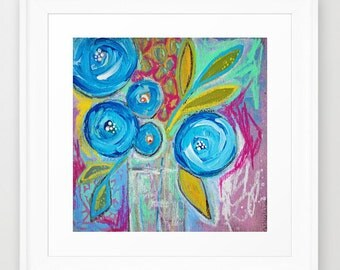 floral no.11 - mixed media, painting, blooms, blossoms, blue, summer