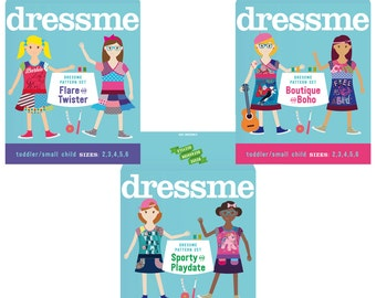 Pdf sewing pattern girls upcycled dresses complete Set - Sizes 2-6
