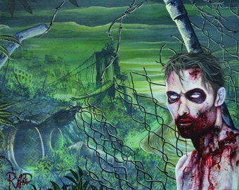 RW2 Signed Limited Edition Print Apocalyptic ZOMBIE by Robert Walker
