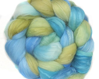 MERINO SILK handdyed wool roving top spinning or felting fiber 4.9 oz