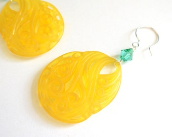 The Della- Yellow Lucite and Teal Swarovski Earrings