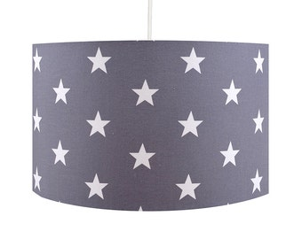 Grey Stars 30cm Drum Lamp Shade