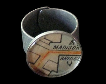 Antique Map Ticket Ring