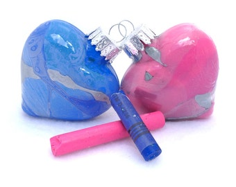 Handmade Christmas Ornaments - 2 Inch Glass Heart Ornament with Recycled Wax Crayons Inside  - Upcycled Repurposed - Pink or Blue
