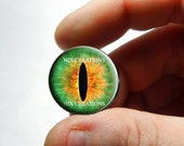 Glass Eyes - Green Fire Dragon Glass Eyes Glass Taxidermy Doll Eyes Cabochons - Pair or Single - You Choose Size