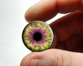 Glass Eyes - Yellow Pink Zombie Human Doll Eyes Handmade Glass Cabochons - Pair or Single - You Choose Size