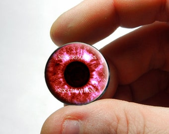 Glass Eyes - Red Human Doll Taxidermy Eyes Handmade Glass Cabochons - Pair or Single - You Choose Size