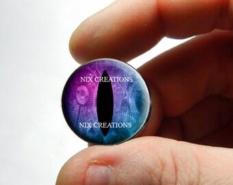 Steampunk Glass Eyes - Steampunk Purple Blue Glass Dragon Eyes Cabochons - Pair or Single - You Choose Size