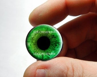 Glass Eyes - Green Human Doll Eyes Handmade Glass Cabochons - Pair or Single - You Choose Size