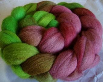 Merino wool roving, spinning fiber, felting wool, nuno felting wool, hand painted wool roving, dolls hair, 100g/3.5oz