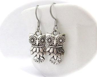 Owl Earrings, Antiqued Silver Tone Owl, Dangle Owl Earrings, Bird Watcher, Bird Earrings, Petite Dangle Earrings