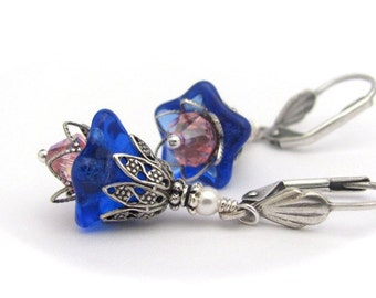 Blue Flower Earrings, Rose PInk Swarovski Crystals, Antiqued Silvertone Dangles, Hawaii Flowers, Cobalt Blue, Clip On Earrings Available