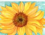 Sunflower Paintings original, Flower Painting, Small Floral Wall Art, Sunflower decor 5 x 7, aqua background watercolors paintings original