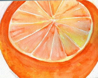 Orange Watercolors Paintings Original, Fruits wall art,  5 x 7,  Citrus art kitchen decor art, orange painting, orange home decor