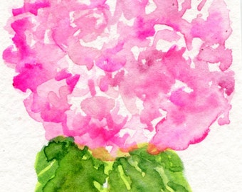 ACEO Pink Hydrangea Watercolors Paintings Original, Hydrangea Art Card hydrangea painting, ACEO card, miniature painting