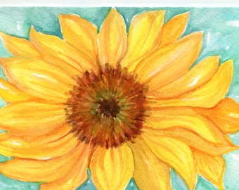 Sunflower watercolor painting original, Flower Painting, Small Floral Wall Art, Sunflower home decor 5 x 7  watercolor painting
