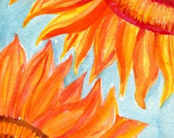 Original Sunflowers  Watercolor Painting, Flower Painting, Small Floral Wall Art, sunflowers watercolors paintings original, 5 x 7 floral