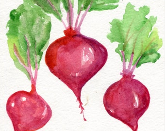 Beets watercolor painting original,  vegetable series, 5 x 7, beet art, kitchen decor, original watercolor painting of red beets