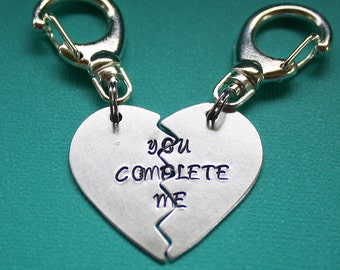 You Complete Me Key Chain Pair - Broken Heart - Personalized - Hand Stamped Key Ring - Gift for Couples