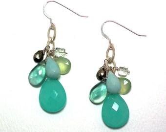 Theadora - Aqua chalcedony, fluorite, amazonite, pyrite, green amethyst, and prehnite earrings