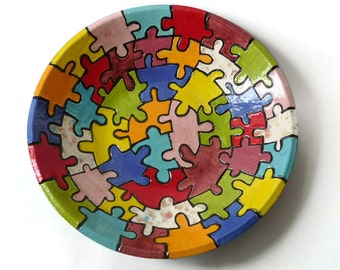 Large Colorful Ceramic Bowl with Carved Puzzle Pieces FREE SHIPPING