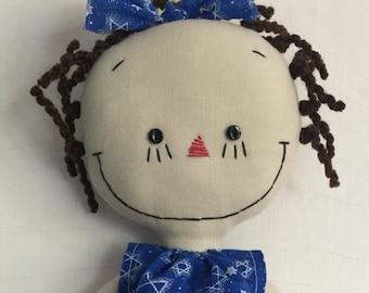 Hanukkah Chanukah handmade cloth rag doll Star of David dress