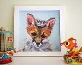 "Baby Fox Art Print, Woodland nursery art, Fox print, Fox Nursery Decor, 12x12"""
