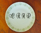 C R A P hand painted vintage porcelain bread and butter plate with hanger humor recycled word art display