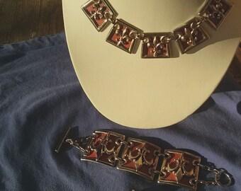 Vintage 1950s Necklace Set Fleur de Lis Chunky Heavy Link 50s Screw Back Earrings