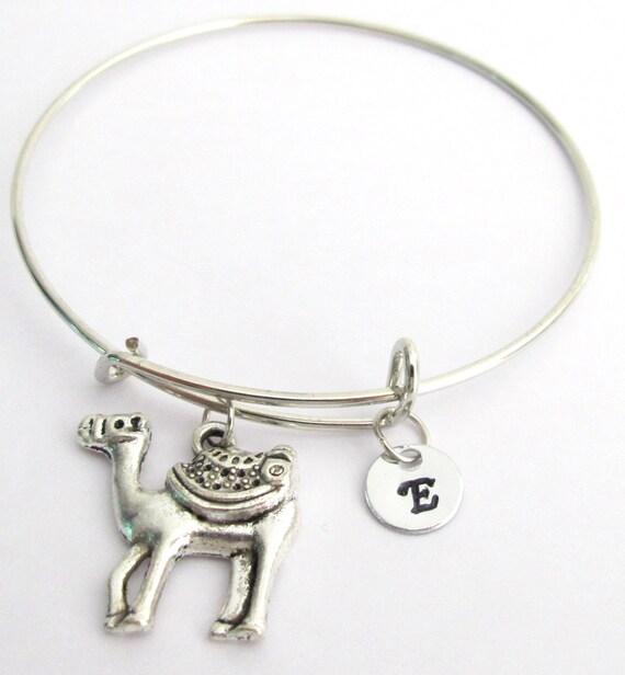 Camel Bangle Bracelet Expandable bangle Personalized bracelet Charm bangle  Monogram Initial bracelet Camel bracelet Free Shipping In USA