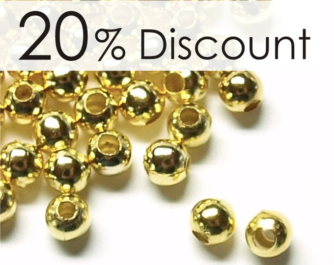 CLOSEOUT - BDBGP-rd40 - Bead, Round, 4mm, Gold - 500 Pieces (5pk)
