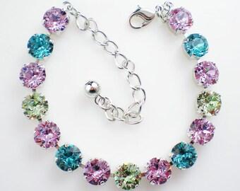 Turquoise Lavender Green Rhinestone Bracelet Swarovski Violet, Light Turquoise, Chrysolite Wedding Jewelry Bridesmaid Jewelry