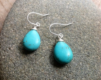 Small Turquoise Drop Earrings, Turquoise Earrings, Small Gift, Handmade on Martha's Vineyard, Jen Jen Jewelry,